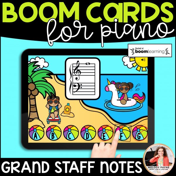 BOOM Cards: Low F to High G Notes on the Grand Staff by Melody Payne