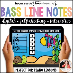 BOOM Cards: Bass Clef Line Notes 100 Note Challenge! by Melody Payne