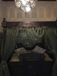 Our canopy bed. The ceilings were about 20 feet tall and had intricate painted wood. Stunning!