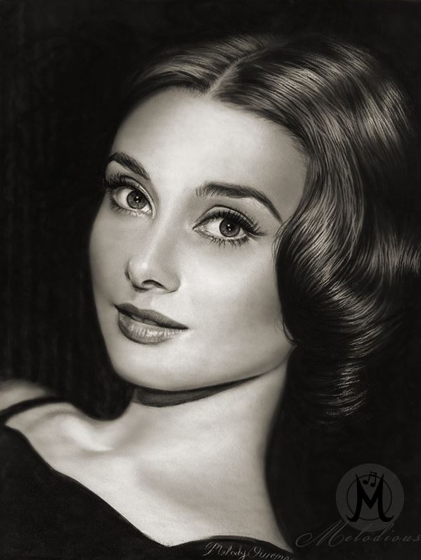 Audrey Hepburn portrait drawing, black & white painting by Melody Owens
