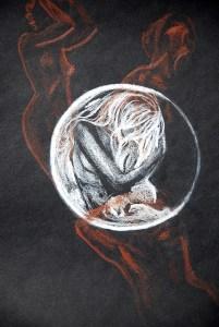 moon, dark moon, shadow side, new moon, full moon, painting, art, fantasy, mysterious art