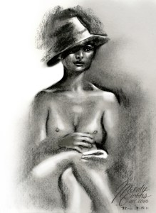 Brittany charcoal figure drawing by Melody Owens