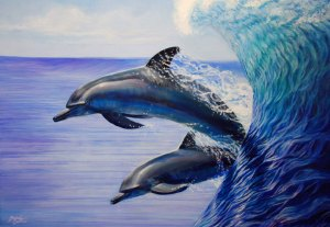 Oil Painting - Dolphins by Melody Owens