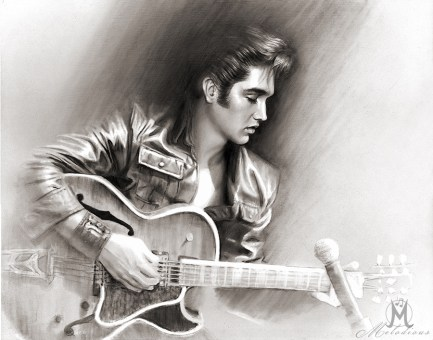 Elvis Presley 1968 Comeback tour drawing, fine art black & white painting by Melody Owens