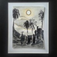 """Full Moon Risen"" Moon #30 Sketched from life on the Blue Moon in Laguna beach $100"