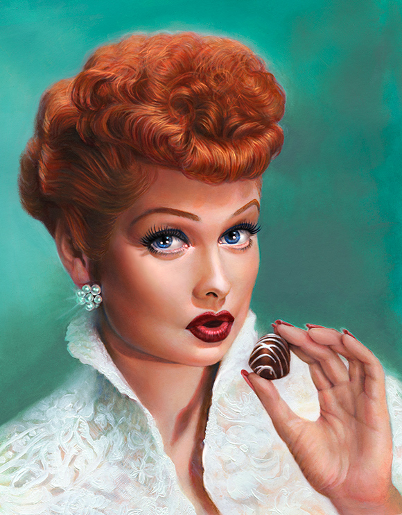 I Love Lucy & Chocolate Original Oil Painting of Lucille Ball by Melody Owens