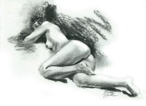 Spanish Dancer - Charcoal drawing, classic female nude by Melody Owens