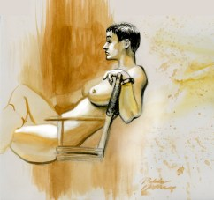 Watercolor Figure Drawing of Britt by Melody Owens
