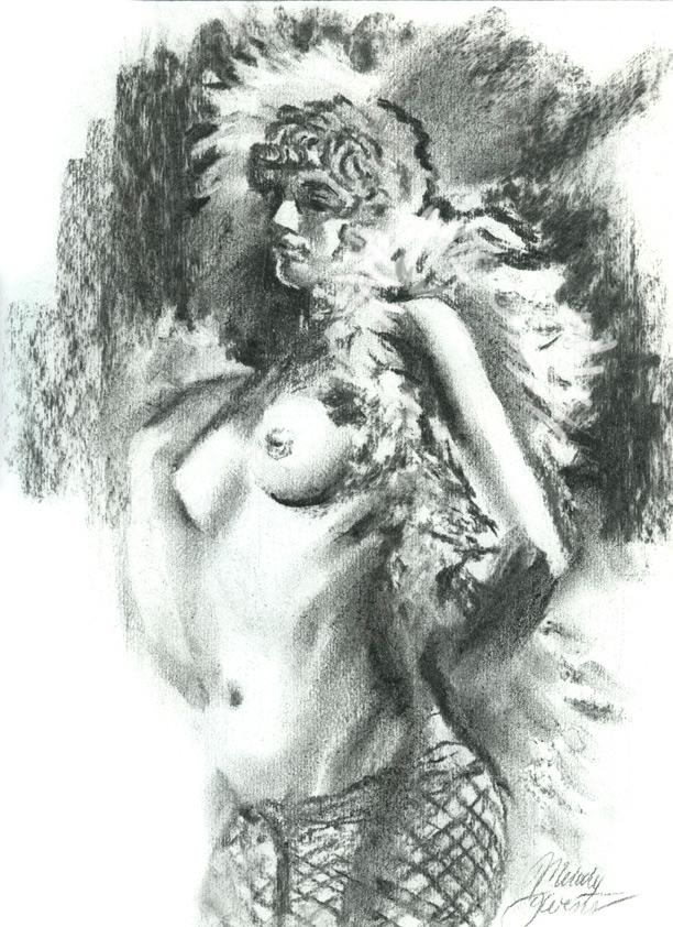 Fine Art Figure Drawing - Charcoal of Female Nude