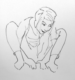 figure drawing, pen, blind line contour