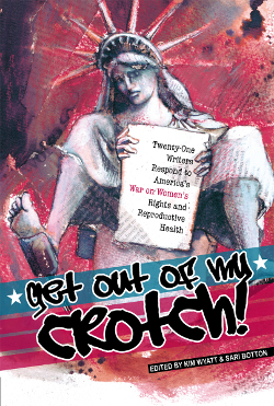 The cover for GET OUT OF MY CROTCH, featuring the Statue of Liberty in an exam gown.