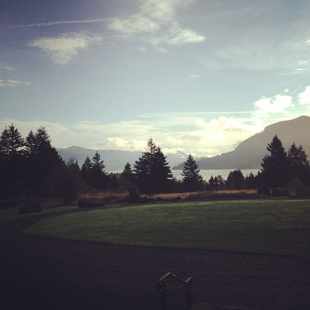 Looking out across the lawn at Skamania Lodge