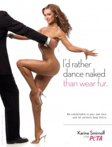 Karina Smirnoff appearing nude in a peta ad with a clothed man.