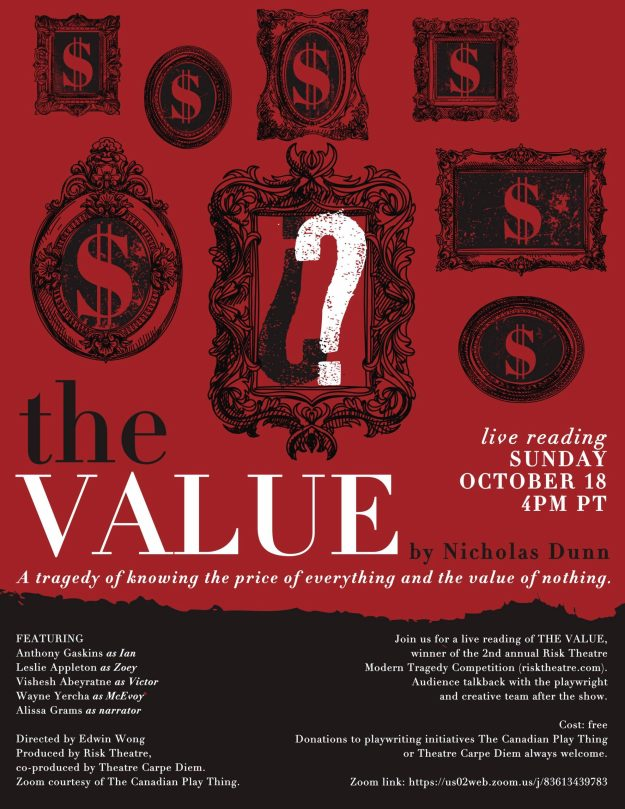 Poster for Nicholas Dunn's THE VALUE, courtesy of Emily Armstrong at Starling Memory Designs