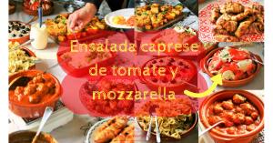 """Tapas bijgerecht. Hoort bij 8 makkelijke tapas. Ensalada caprese de tomate y mozzarella - Zomerse Spaanse tomatensalade met mozzarella knoflook uienringen en basilicum. Leuk & lekker voor op je tapasfeestje, maak een tapas buffet. ook een ideaal tomaten mozarella bijgerecht of salade voor bij de BBQ - Mels Feestje"""""""