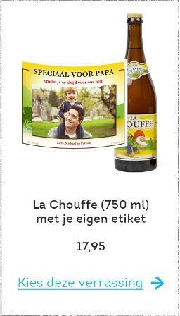 """Vaderdag foto idee - je foto op een la Chouffe flesje voor Vaderdag - aanbieding bij Greetz - mels Feestje en feestdagen"""""""