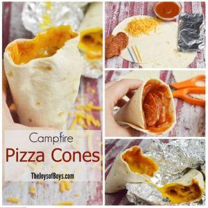 Camping pizza horens met tortilla pannenkoeken en kaas en salami - pizza voor op de camping - gegarandeerd succes bij de kids met dit recept - mels Feestje en kampeer recepten