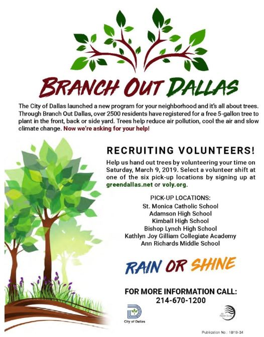 On Saturday March 9th Residents Will Be Picking Up Their Tree At 1 Of 6 Sites Across The City And We Need Volunteers To Help Hand Out Trees