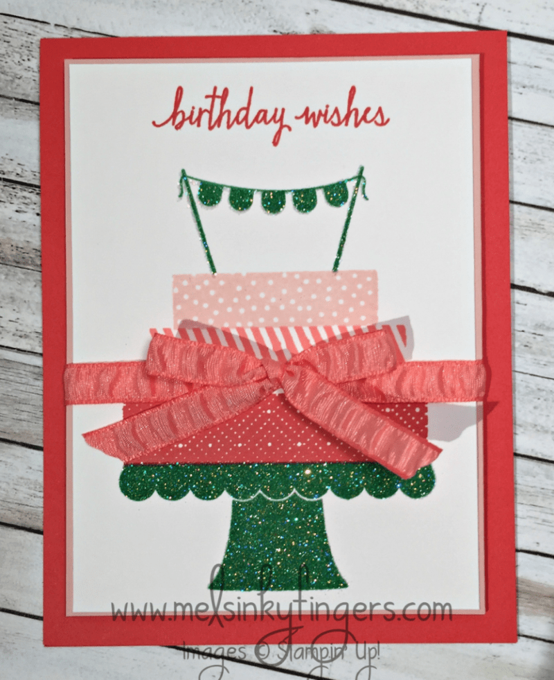 Build a Birthday stamp set with Dazzling Diamonds glitter. Stamped in Watermelon Wonder, Flirty Flamingo, Blushing Bride, and Cucumber Crush ink.