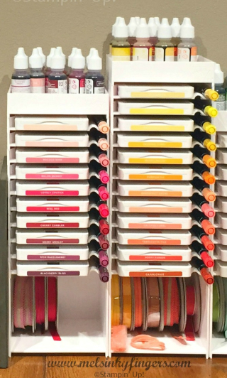 Keep your ink, markers, ribbon and matching embellishments together to make your work space more efficient!