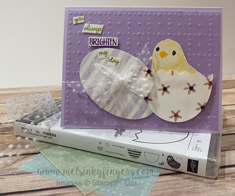 This card features the Full of Happiness stamp set.  Get a FREE tutorial featuring a 3-D project using this set!