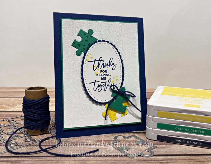 Love You to Pieces stamp set & Puzzle Pieces Dies are perfect for this color challenge!