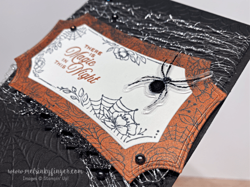Hallows night magic bundle magic in this night designer paper metallic mesh ribbon august 2020 3D blog hop mels inky fingers stampin up