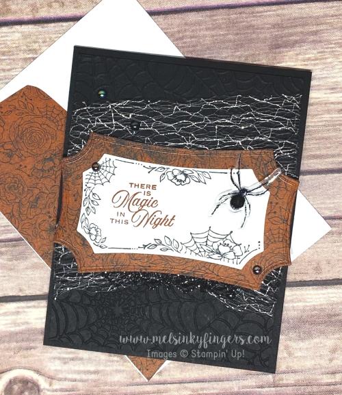 Hallows night magic bundle magic in this night designer paper metallic mesh ribbon halloween august 2020 3D hop mels inky fingers stampin up