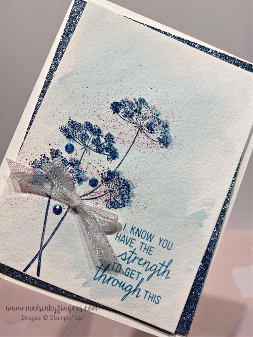 Balmy Blue glimmer paper, blue gems, and Wink of Stella pair up for all kinds of shimmer!