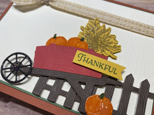 The Autumn Wheelbarrow dies offer texture and beautiful accents!