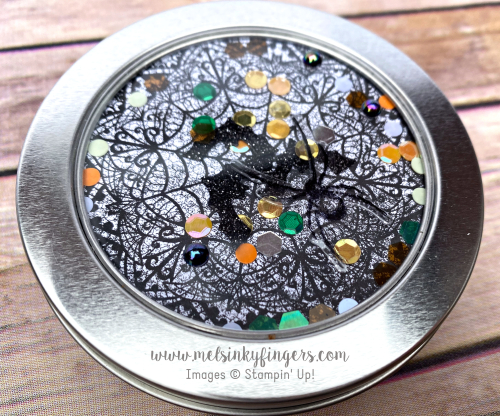 Fun shaker tin using the round tins and the Magic in this Night product suite!