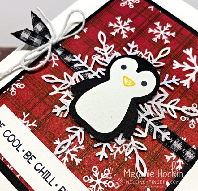 A wintery card using the Penguin Place bundle and Peaceful Prints designer series paper from Stampin' up!.  Card originally designed by Melanie Hockin of Mel's Inky Fingers.