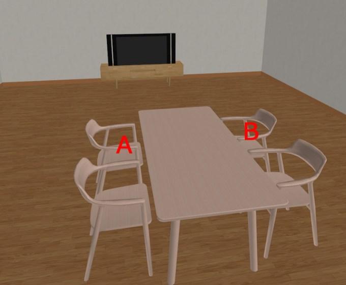 ダイニングテーブルとテレビ