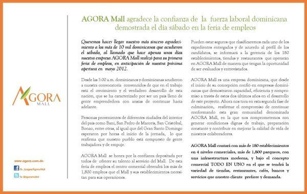 Ágora Mall agradece a los que llevaron curriculums a la feria de empleos y promete