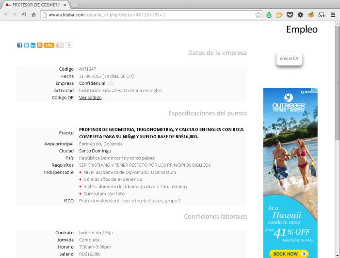 PROFESOR DE GEOMETRIA, TRIGONOMETRIA, Y CALCULO EN INGLES CON BECA COMPLETA PARA SU NIÑ@ Y SUELDO BASE DE RD$16,000.