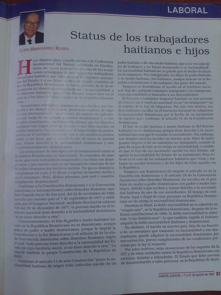 Status de los trabajadores haitainos e hijos. Lupo Hernandez Rueda. Gaceta Judicial, 1997