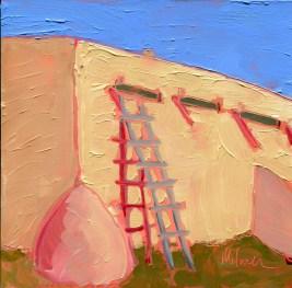 "Melwell Romancito, ""Martinez Hacienda North Wall,"" oil on panel, 6x6"