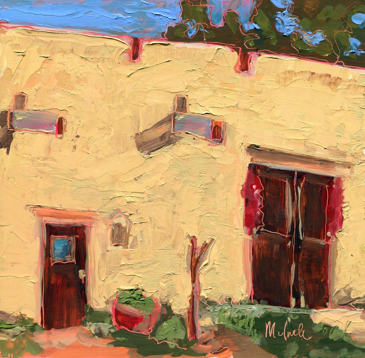 "Melwell Romancito, ""Martinez Hacienda Entrance,"" oil on panel, 6 x 6"