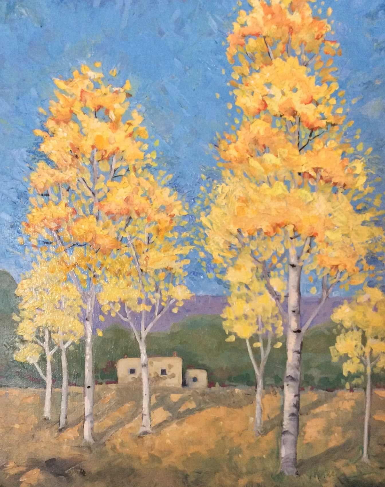 "Melwell Romancito, ""Those Aspens in Town,"" oil on canvas, 16x20"