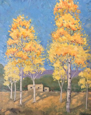 """Melwell Romancito, """"Those Aspens in Town,"""" oil on canvas, 16x20"""