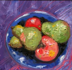 "Melwell Romancito, ""Pears and Apples,"" oil on claybord, 6x6"