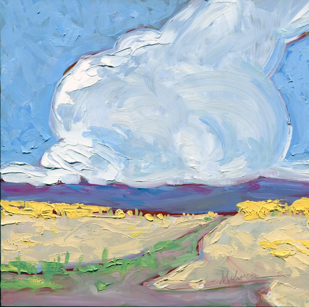 """The Last Thunderstorm of the Season,"" Melwell Romancito, oil on panel, 8x8"