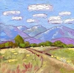 """Little Tut Tut Clouds,"" Melwell Romancito, oil on panel, 8x8"