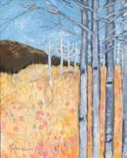 """Aspens' Edge I,"" oil on panel by Melwell Romancito, 8x10"