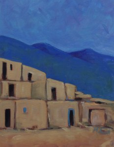"""""""Taos Pueblo North Side #2"""" oil on canvas by Melwell Romancito, 12x16"""