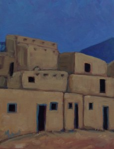 """""""Taos Pueblo North Side #1"""" oil on canvas by Melwell Romancito, 12x16"""