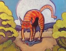 """El Gato Rojo,"" oil on canvas by Melwell, 16x20"