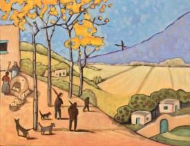"""Hunters Return,"" oil on linen panel by Melwell, 16x20"