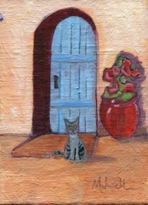 """""""The Picture of Patience,"""" oil on linen panel by Melwell, 5x7"""