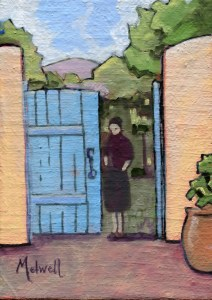 """""""She'll be Waiting at the Gate,"""" oil on linen panel by Melwell, 5x7"""